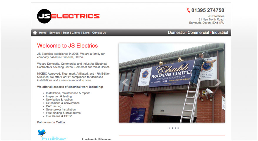 JS Electrics showcase image showing a screenshot of the home page